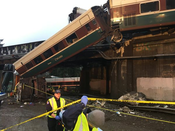 Emergency workers at the scene of the Amtrak train derailment.