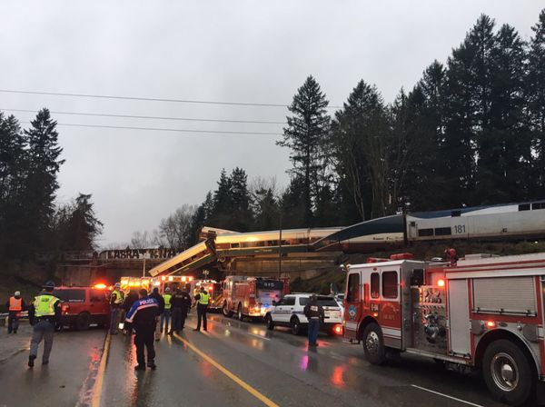 Emergency vehicles at the scene of the derailment.