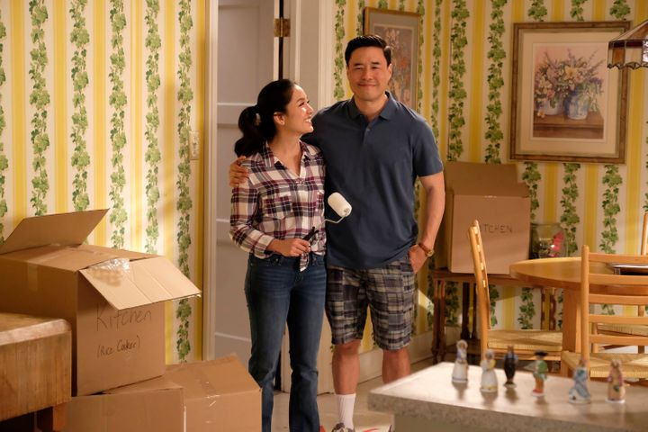 "Constance Wu (Jessica) and Randall Park (Louis) in ABC's sitcom ""Fresh Off the Boat."""