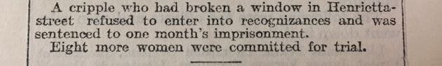 A newspaper article from 1912 that doesn't name Billinghurst directly, but mentions her