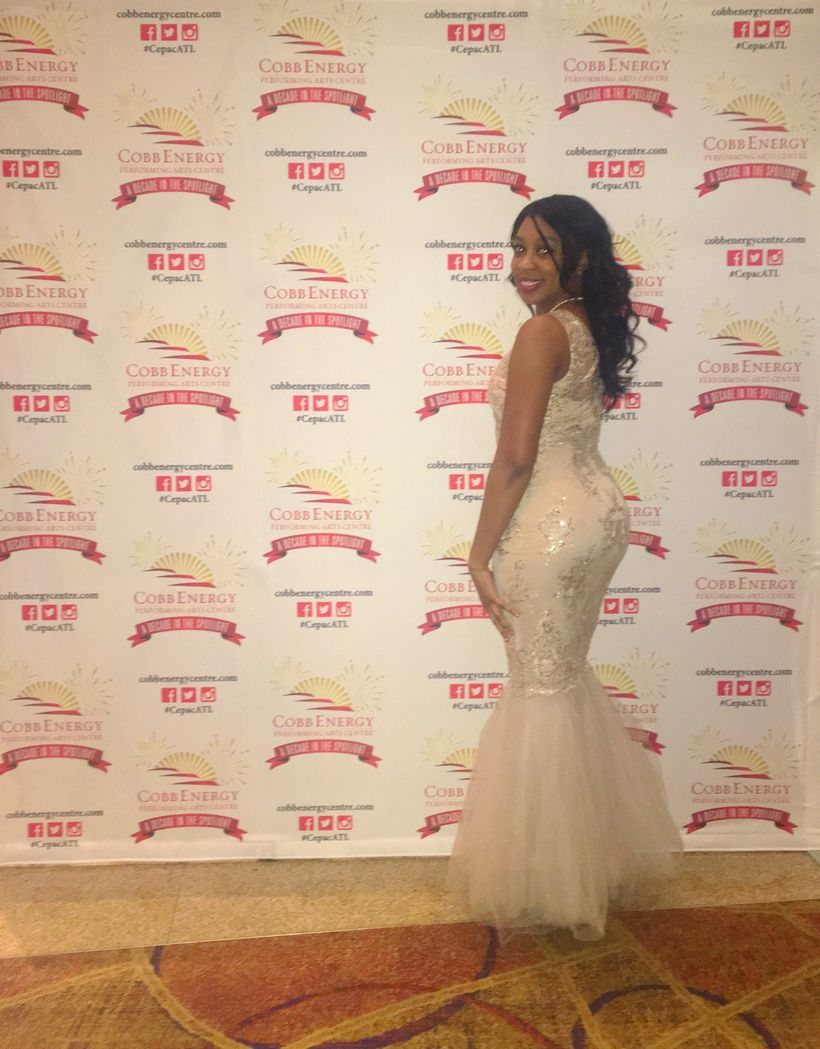 Ashley Simms on the red carpet for the 2016 Trumpet Awards Ceremony