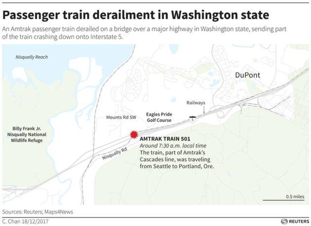 A map showing where the derailment