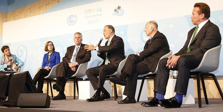 <em>Gov. Jay Inslee speaking during a panel discussion about the U.S. Climate Alliance during the United Nation's Climate