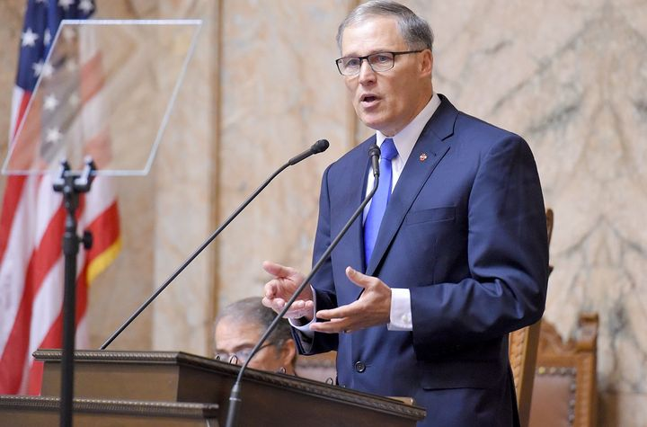 <em>Gov. Inslee delivering his State of the State speech on Jan. 13, 2015.</em>