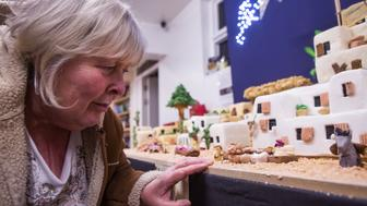 Lynn Nolan, a cake maker from Youlgrave, Derbyshires, with her giant christmas cake.  A master baker has created a jaw-dropping nativity scene - from a whopping 100kg of marzipan and icing. See ROSS PARRY story RPYCAKE.  Dedicated Lynn Nolan worked miracles with marzipan to create a replica Bethlehem - standing at six-foot tall and three-foot wide.  Mum-of-two Lynn, 61, spent six months and £850's of ingredients baking the fruitcake - using 50 kg of icing, 50 kg of marzipan, 240 eggs and four litres of whiskey.  The Christmas model depicts Bethlehem's main street - complete with market stalls featuring traders selling blankets, spices, breads and meats.  Figurines in the Nativity scene behind the main street showing baby Jesus and the Three Kings in a stable are just some of the more than twenty hand-crafted 2-inch characters.  Its buildings are lit with LED lights disguised as candles which Lynn hand-wired.  Miracle-worker Lynn set about the heavenly project to help raise the £60,000 needed to replace the playground at Youlgrave CE Primary School, Derbs.