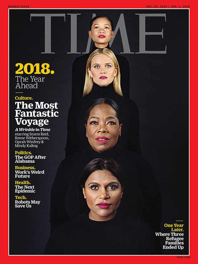 On the cover, the women are all dressed in identical black turtlenecks with their hair parted down the center, wearing a berr