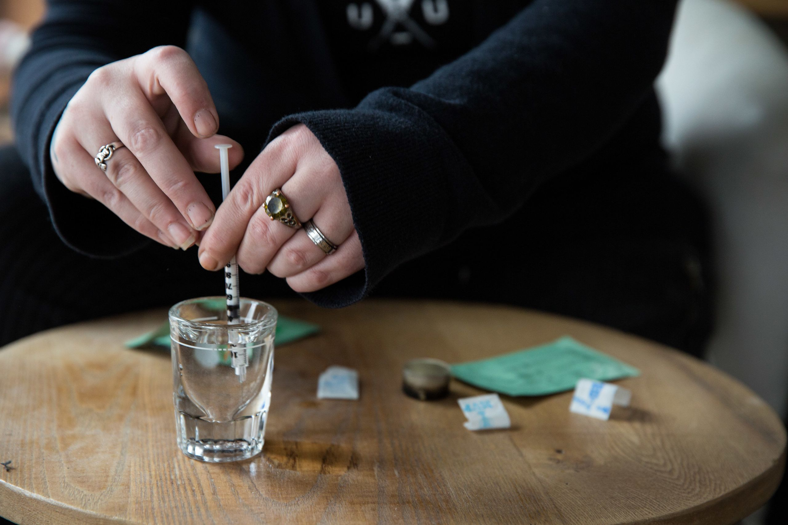 Tilley tests for the presence of Fentanyl by gathering drops of water and mixing them with the drugs. The