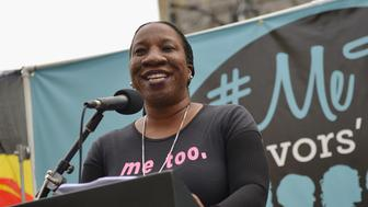 HOLLYWOOD, CA - NOVEMBER 12:  Activist Tarana Burke, the original creator of the 'Me Too' hashtag, speaks at the #MeToo Survivors March & Rally on November 12, 2017 in Hollywood, California.  (Photo by Chelsea Guglielmino/FilmMagic)