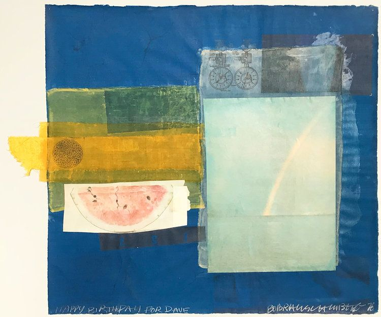 Robert Rauschenberg, <em>Untitled (Happy Birthday For Dave) </em>(1978), solvent transfer and fabric collage to paper, 20 1&#