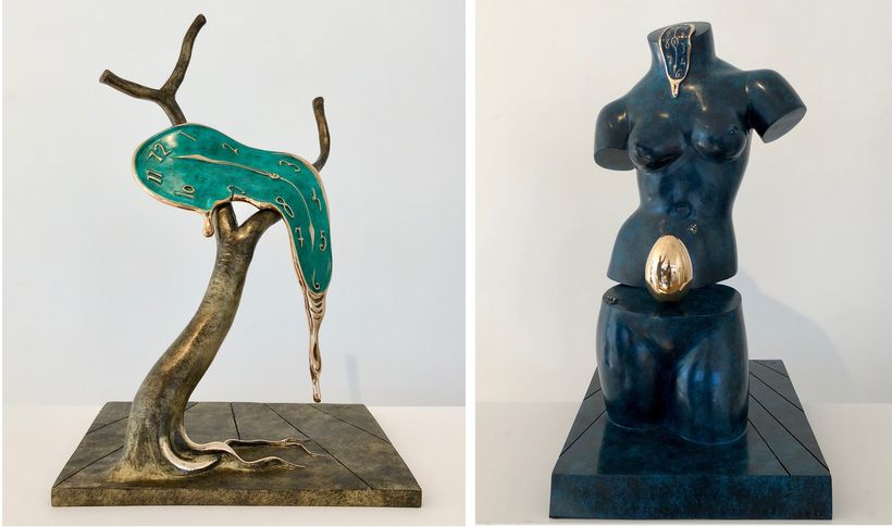 (left to right) Salvador Dalí, <em>Profile of Time</em> (1977-1984), bronze (edition number 156&#x2F;350), 20 1&#x2F;12 x 13