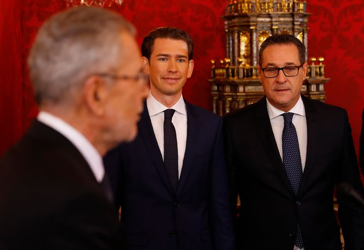 Sebastian Kurz, center, was sworn in Monday as Austria's chancellor. He will be joined by vice chancellor Heinz-Christian Str