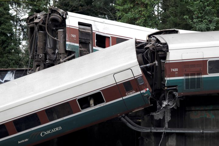 The scene where an Amtrak passenger train derailed on a bridge in Washington Monday.