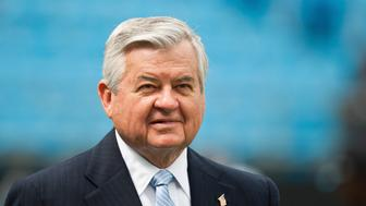 Carolina Panthers team owner Jerry Richardson watches his team warm up before playing the Green Bay Packers in an NFL football game in Charlotte, North Carolina, September 18, 2011. REUTERS/Chris Keane (UNITED STATES - Tags: SPORT FOOTBALL)