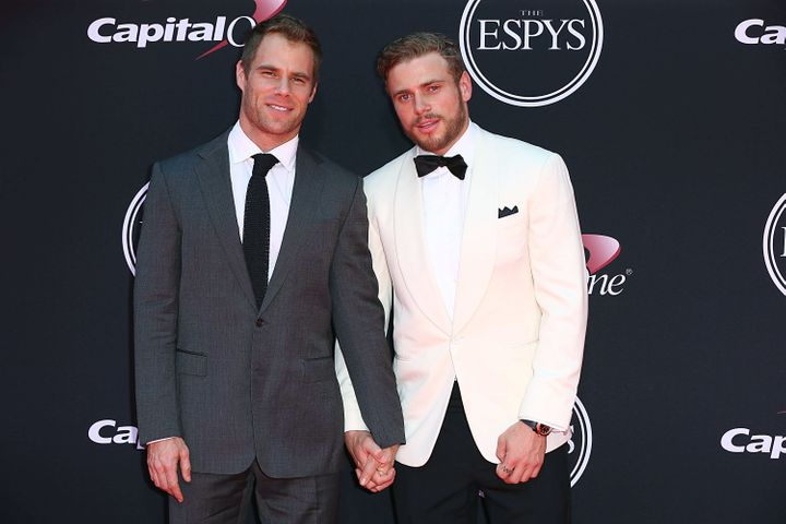 "Kenworthy is dating ""Gayby"" actor Matthew Wilkas (left)."