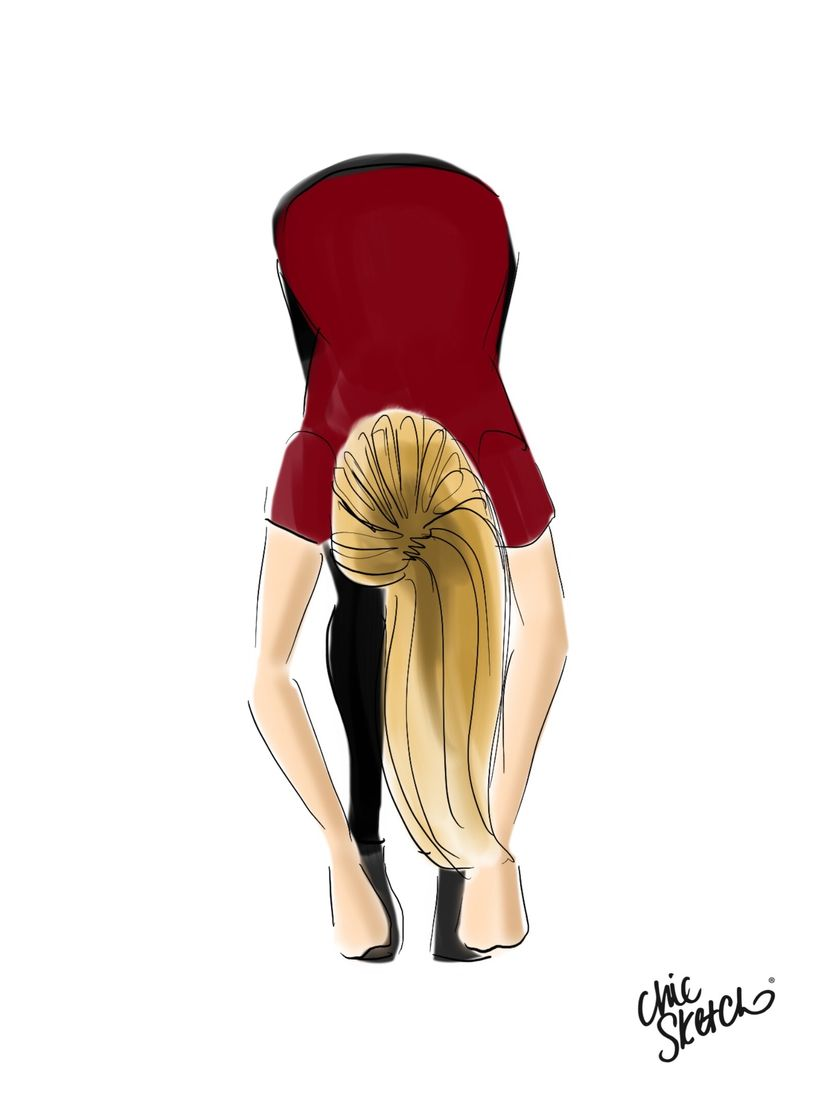 Fold forward, letting the head hang heavy.