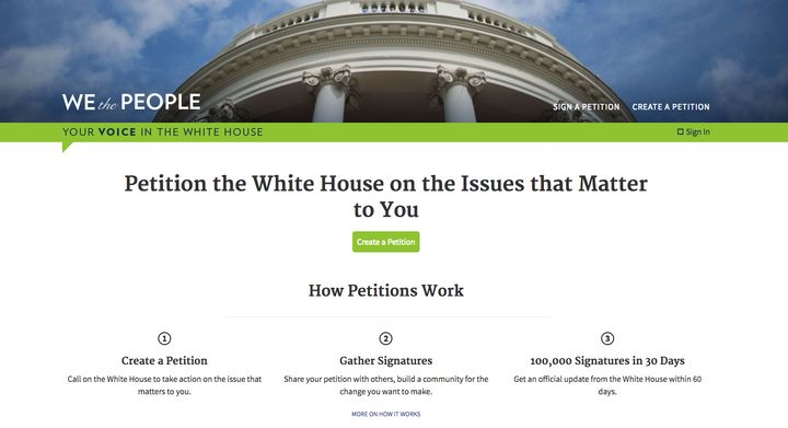 "The ""We the People"" website was launched in 2011 in the Obama administration."