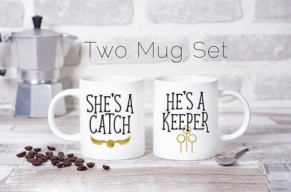 "Get them <a href=""https://www.etsy.com/listing/553456522/harry-potter-mugs-shes-a-catch-hes-a?ga_order=most_relevant&ga_s"