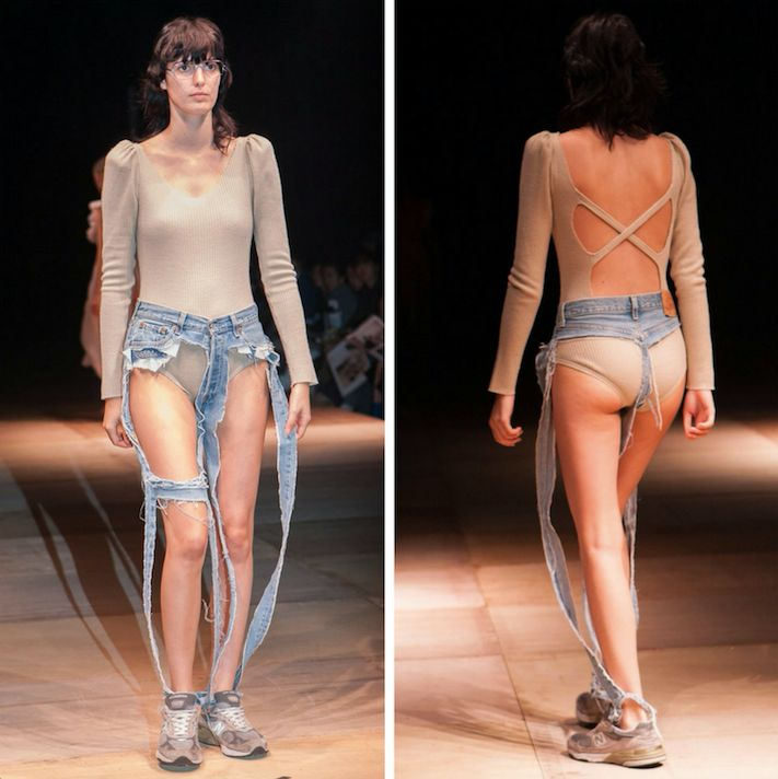 The thong jeans were created by Tokyo-based designer Thibaut.