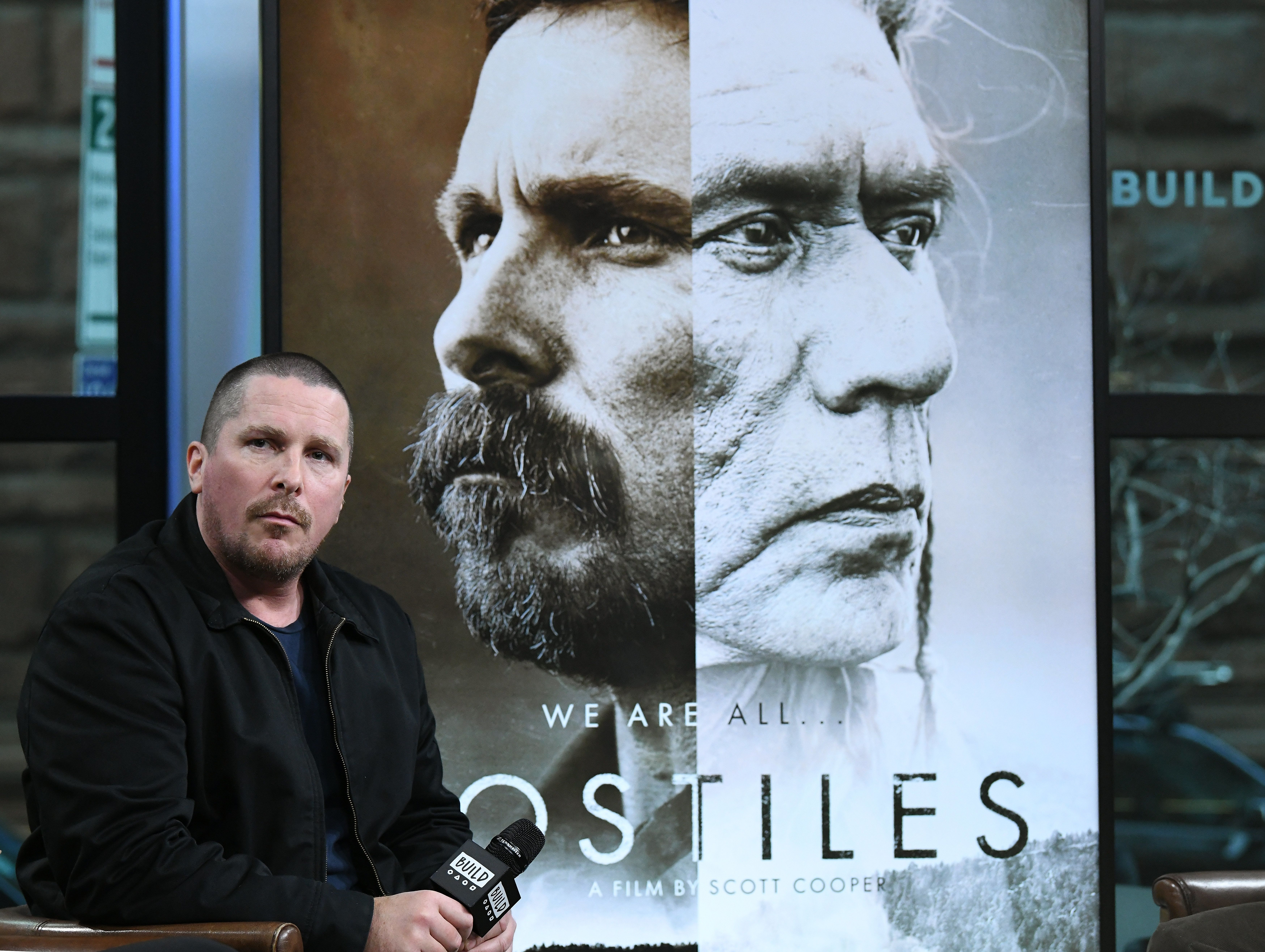NEW YORK, NY - DECEMBER 18:  (EXCLUSIVE COVERAGE) Actor Christian Bale visits Build to discuss 'Hostiles' at Build Studio on December 18, 2017 in New York City.  (Photo by Slaven Vlasic/Getty Images)