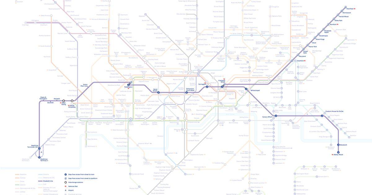 Crossrail's Elizabeth Line Added To TfL's Tube Map To Mark