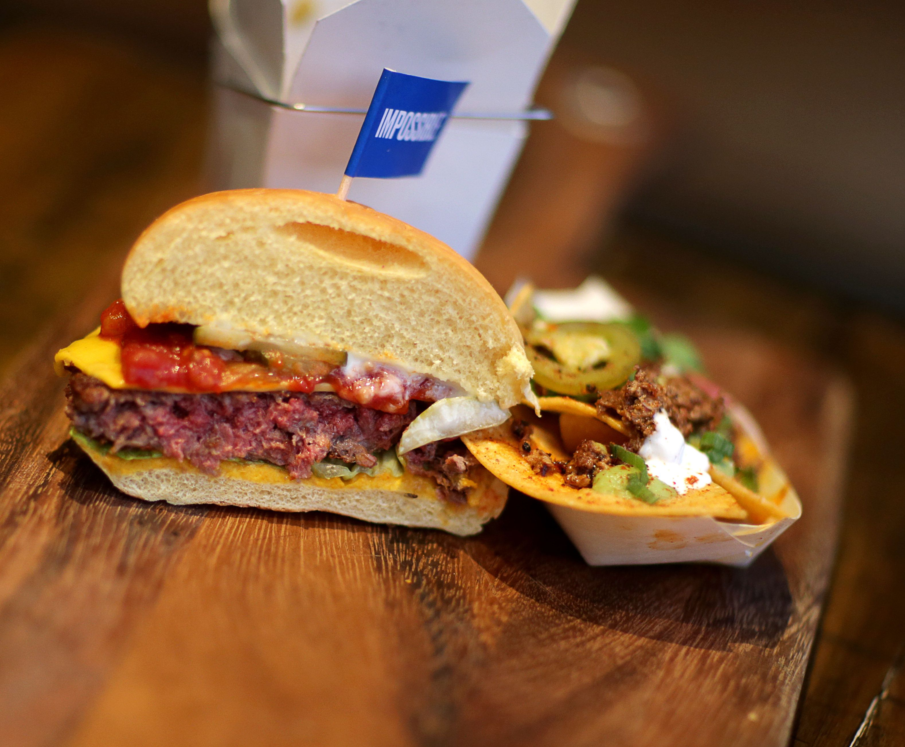 The meatless Impossible Burger, pictured at Little Donkey in Cambridge, Massachusetts.