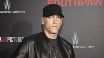 "Musician Eminem attends the premiere of ""Southpaw"" in New York July 20, 2015. REUTERS/Andrew Kelly"