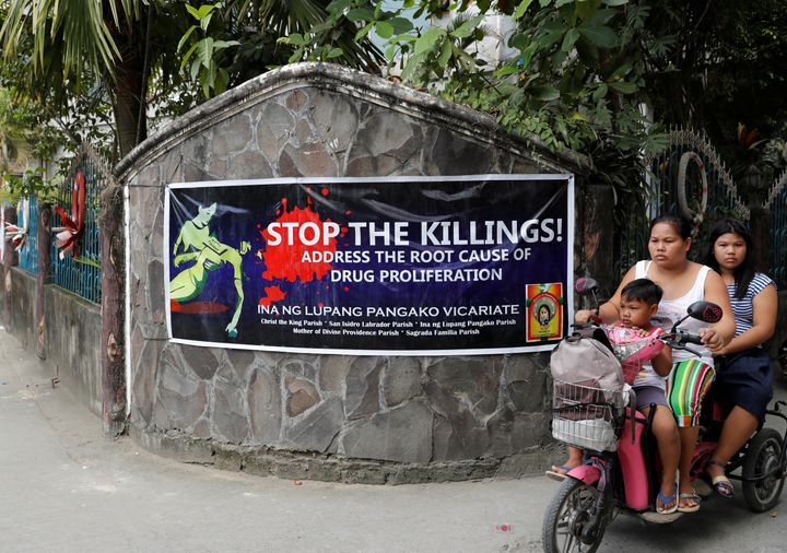 A banner opposing drug related killings along a street in Barangay Bagong Silangan, Quezon City.
