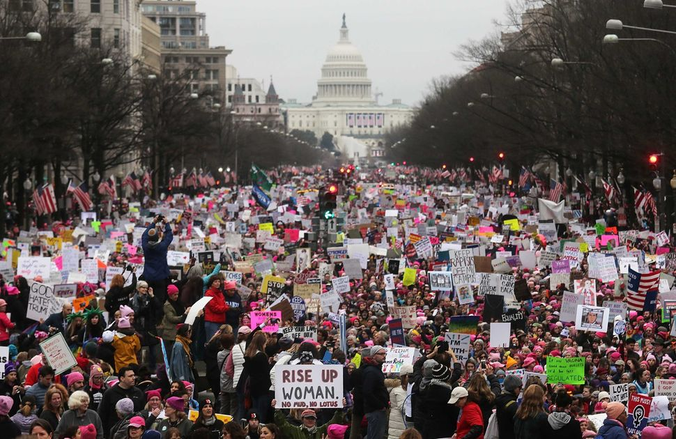 Protesters walk during the Women's March on Washington on Jan. 21, 2017, in Washington, D.C.