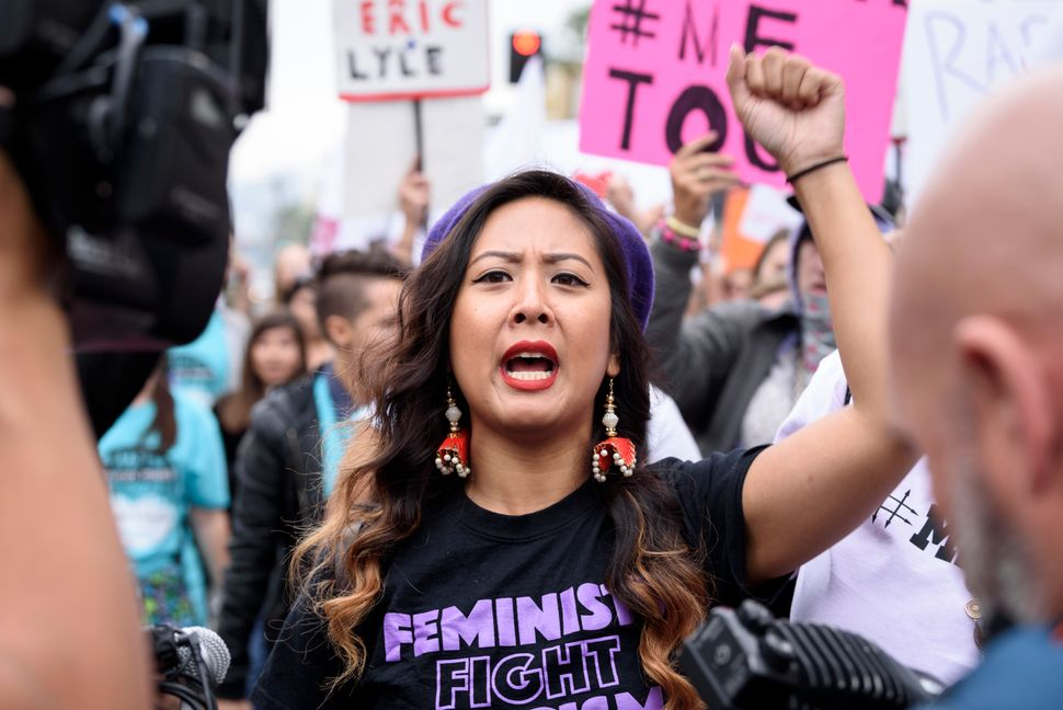 Protesters attend a #MeToo rally in Los Angeles to denounce sexual harassment and assault, Nov. 12, 2017.