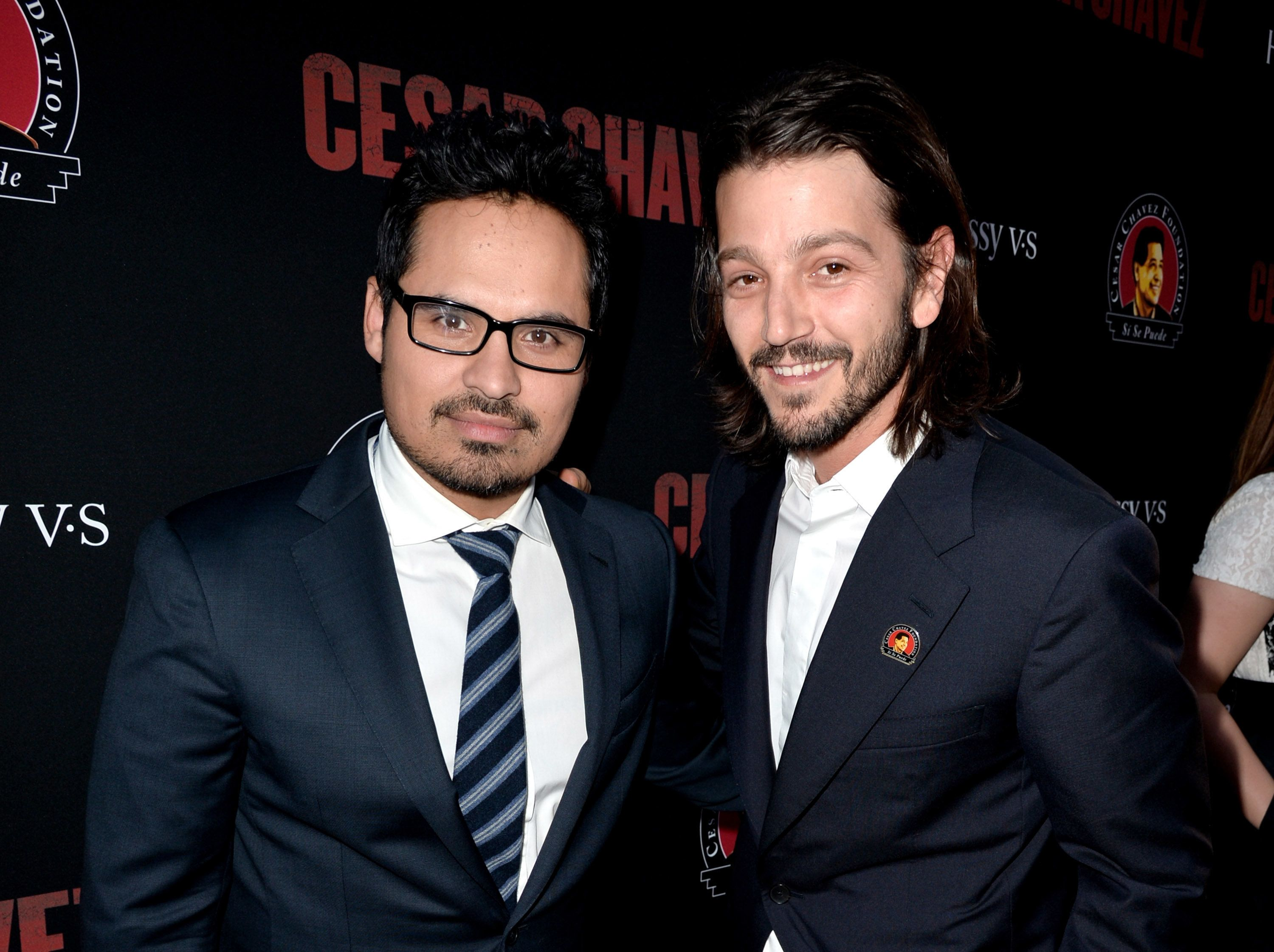 LOS ANGELES, CA - MARCH 20:  Actor Michael Pena (L) and director Diego Luna arrive at the premiere of Pantelion Films And Participant Media's 'Cesar Chavez' at the Chinese Theatre on March 20, 2014 in Los Angeles, California.  (Photo by Kevin Winter/Getty Images)