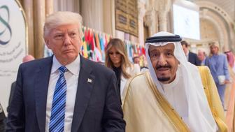 RIYADH, SAUDI ARABIA - MAY 21:  (----EDITORIAL USE ONLY  MANDATORY CREDIT - 'BANDAR ALGALOUD / SAUDI KINGDOM COUNCIL / HANDOUT' - NO MARKETING NO ADVERTISING CAMPAIGNS - DISTRIBUTED AS A SERVICE TO CLIENTS----) U.S. President Donald Trump (L) and Saudi Arabia's King Salman bin Abdulaziz Al Saud (R) attend the Arabic Islamic American Summit at King Abdul Aziz International Conference Center in Riyadh, Saudi Arabia on May 21, 2017. (Photo by Bandar Algaloud / Saudi Kingdom Council / Handout/Anadolu Agency/Getty Images)