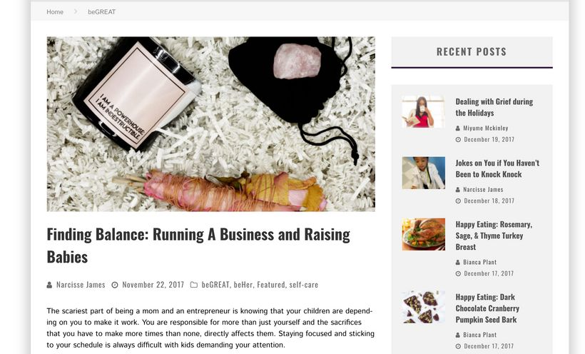 """Narcisse James' penned """"Finding Balance: Running A Business and Raising Babies"""" for Be Baton Rouge"""