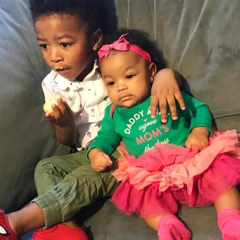 Narcisse James' children, (l-r) Cassius, two years old, and Ari, six months old