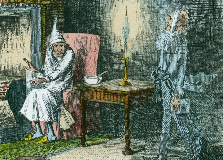 Illustration by John Leech of Scrooge being visited by the ghost of his late business partner, Marley.