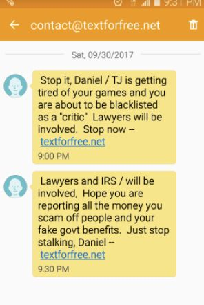One of many text messages Danielle Solzman got from a blocked number threatening her with legal action.