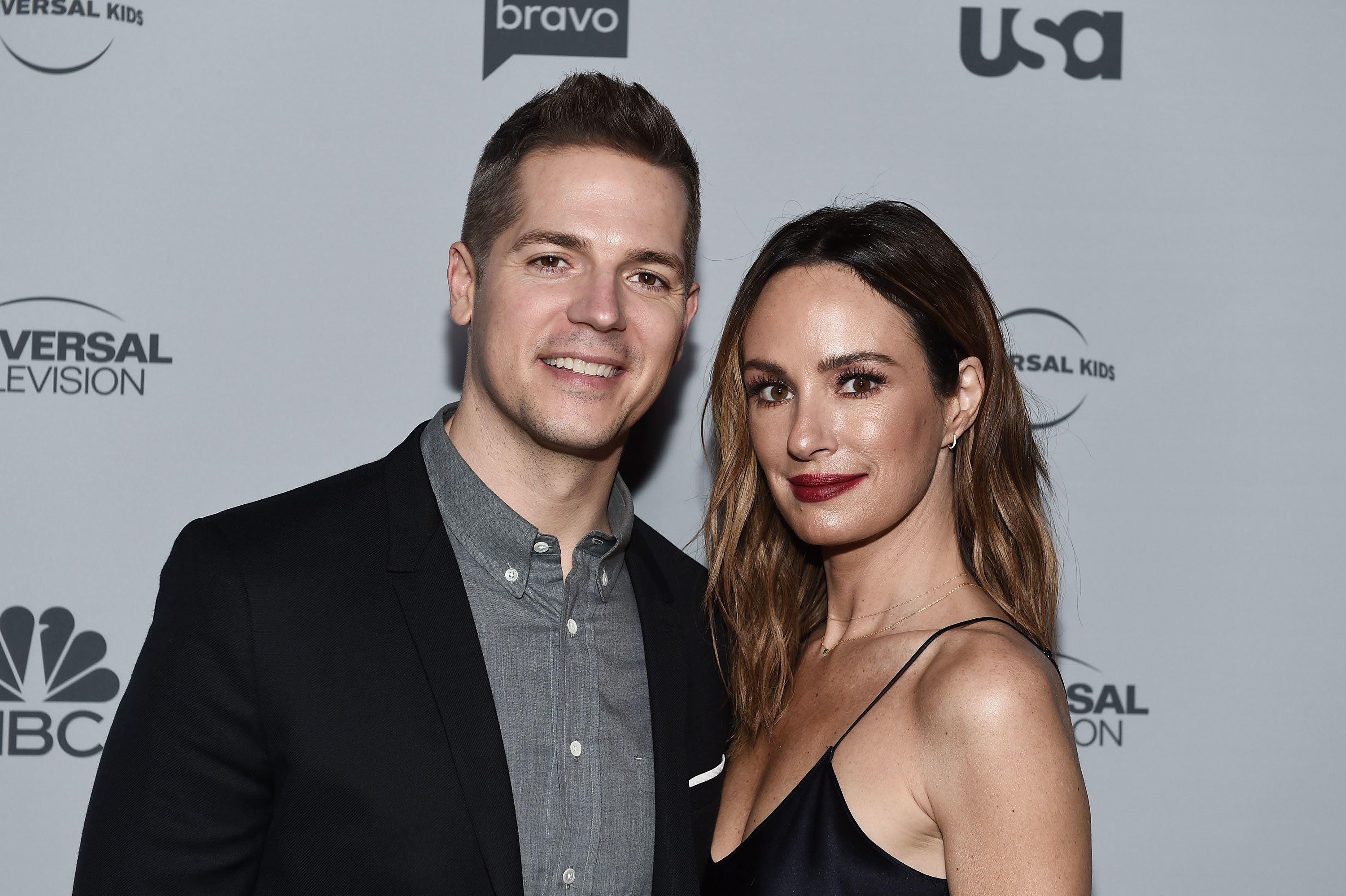 LOS ANGELES, CA - NOVEMBER 13:  Entertainment reporters Jason Kennedy (L) and Catt Sadler arrive at NBCUniversal's Press Junket at Beauty & Essex on November 13, 2017 in Los Angeles, California.  (Photo by Amanda Edwards/WireImage)