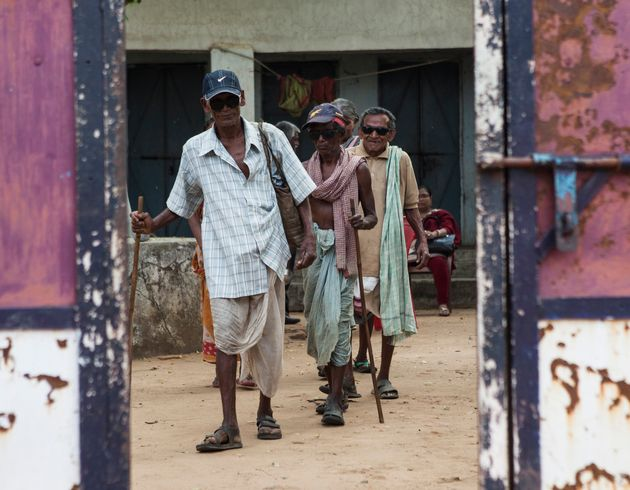 Residents of a leprosy colony in the Indian state of
