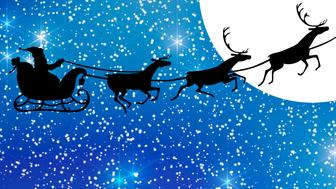 Santa Claus with reindeer sleigh flying in the blue sky against a big white full moon, XXXL concept image in silhouette style.