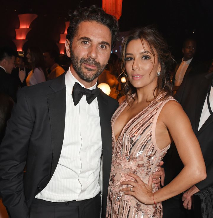 "José ""Pepe"" Antonio Bastón and Eva Longoria at the 2017 amfAR Gala at Cannes on May 25."