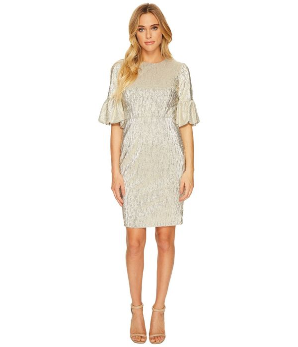 """<a href=""""https://www.zappos.com/p/donna-morgan-short-bubble-sleeve-bodycon-in-shimmer-novelty-fabric-light-gold/product/89967"""
