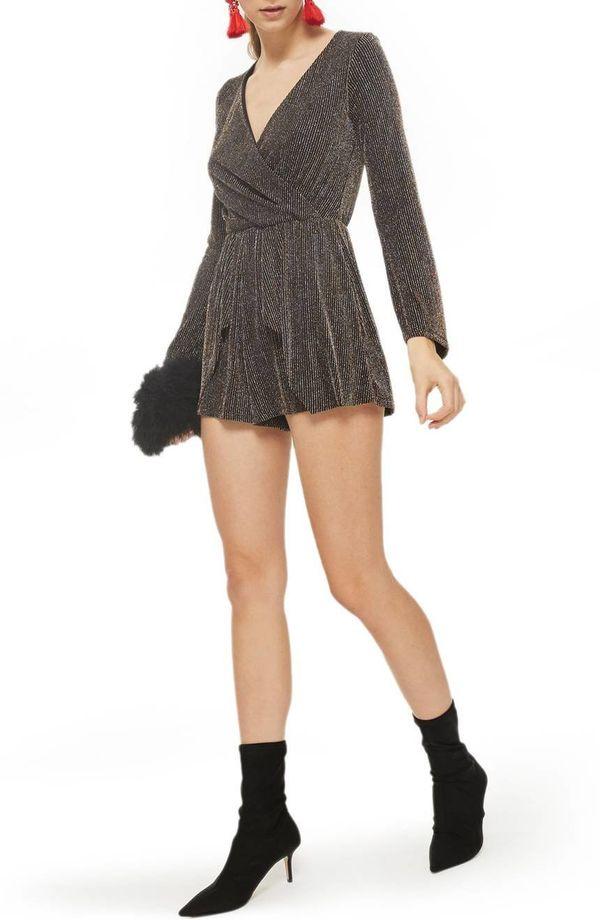 "<a href=""https://shop.nordstrom.com/s/topshop-glitter-hanky-hem-romper/4848450?origin=category-personalizedsort&fashionco"