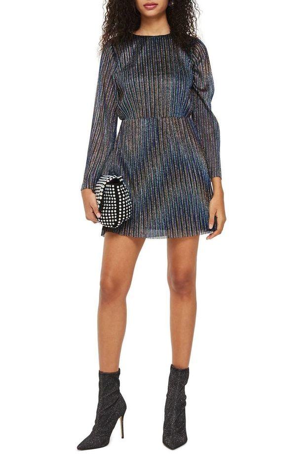 "<a href=""https://shop.nordstrom.com/s/topshop-glitter-stripe-pleated-dress/4856149?origin=category-personalizedsort&fashi"