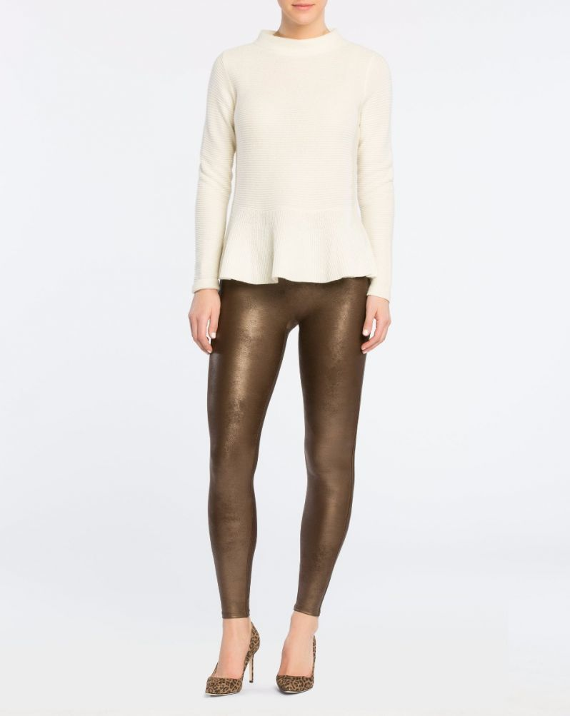 <strong>Spanx</strong> <strong>Faux Leather Leggings - Bronze Metal</strong>