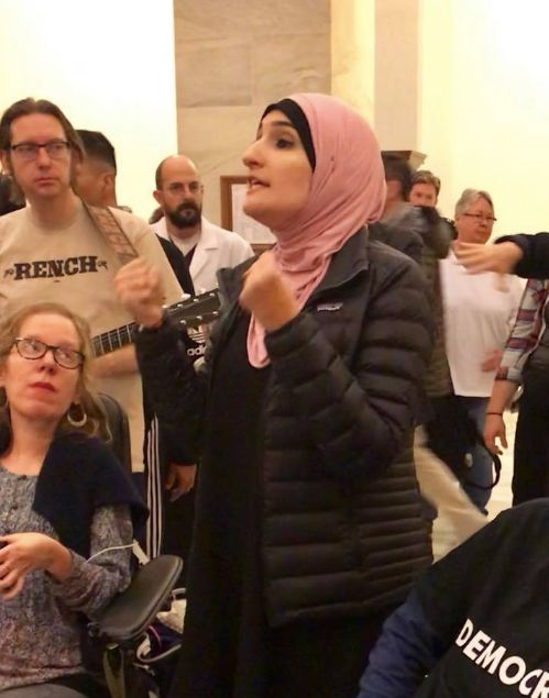 "Linda Sarsour, moments before the ""Die-In"" demonstration in the US Senate on Monday night, 12/18/17"