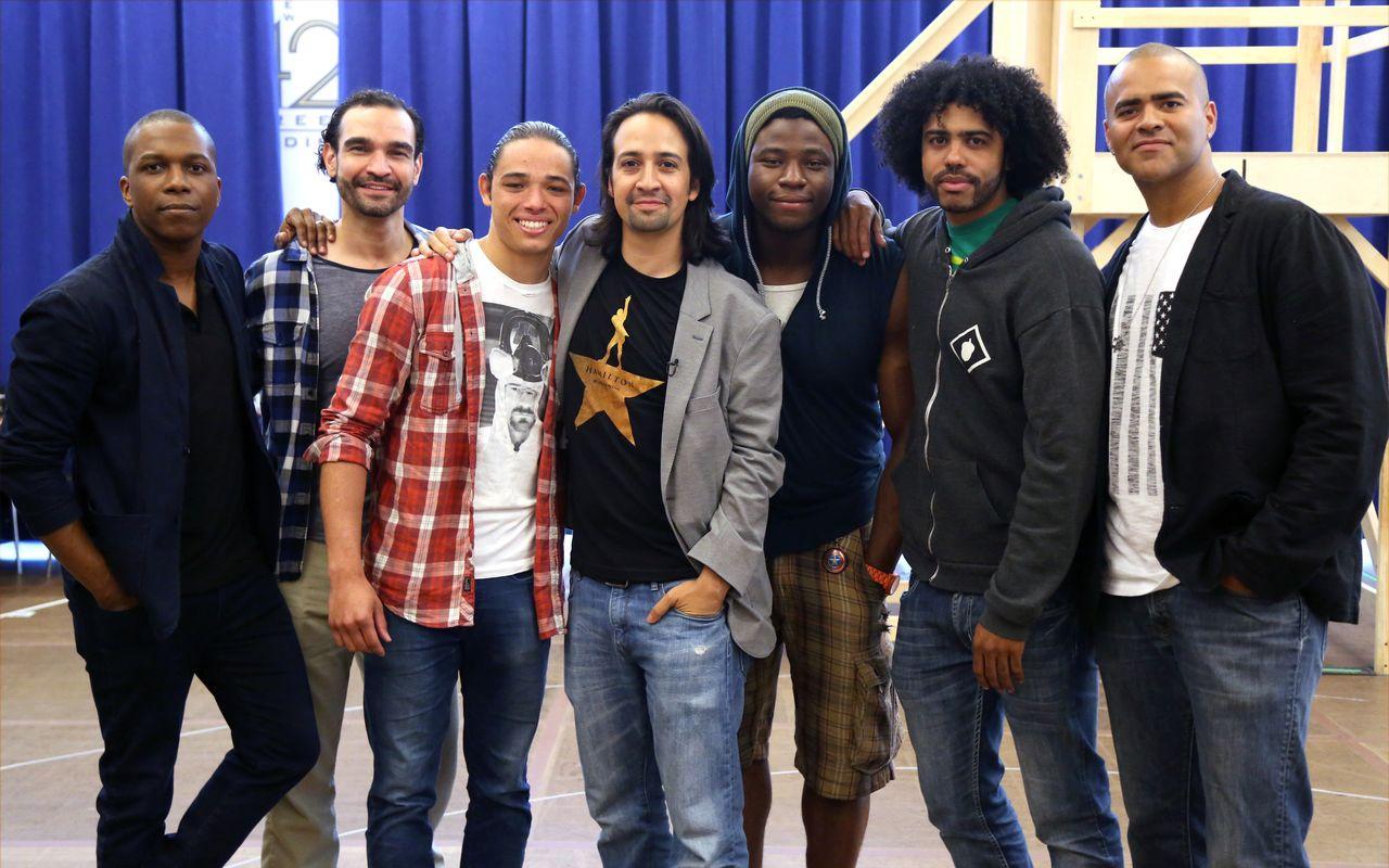 """Hamilton"" cast members Leslie Odom Jr., Javier Munoz, Anthony Ramos, Lin-Manuel Miranda, Okieriete Onaodowan, Daveed Diggs and Christopher Jackson at a meet-and-greet on June 18, 2015."