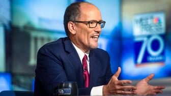 MEET THE PRESS -- Pictured: (l-r)   Tom Perez, Chair, Democratic National Committee, appears on 'Meet the Press' in Washington, D.C., Sunday, Nov. 5, 2017.  (Photo by: William B. Plowman/NBC/NBC NewsWire via Getty Images)