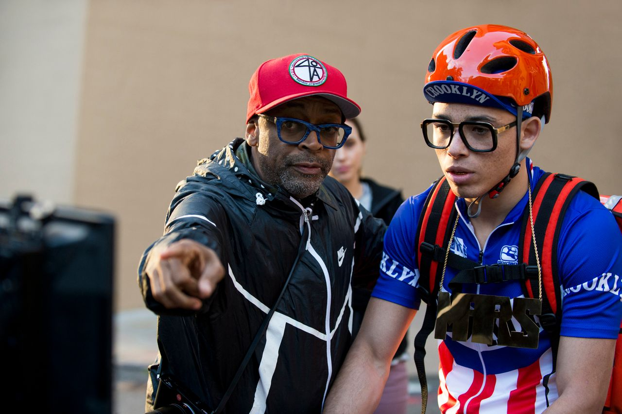 """Spike Lee and Anthony Ramos on the """"She's Gotta Have It"""" set."""