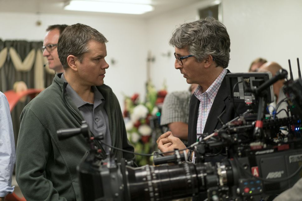 "Matt Damon and Alexander Payne on the set of ""Downsizing."""