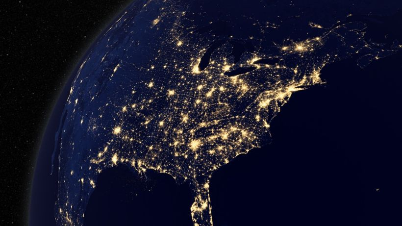 The Easter US power grid seen from space.