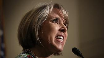 WASHINGTON, DC - MARCH 17:  Rep. Michelle Lujan Grisham (D-NM), chairwoman of the Congressional Hispanic Caucus, delivers remarks following a meeting between U.S. Secretary of Homeland Security John Kelly and members of the Congressional Hispanic Caucus at the U.S. Capitol March 17, 2017 in Washington, DC. Kelly met with the group to answer questions on U.S. President Donald Trump's recent executive order limiting immigration to the U.S. as well as other topics. (Photo by Win McNamee/Getty Images)